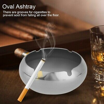 Stainless Steel Windproof Ashtray Desktop Container Cigarette Smoking Tools Set
