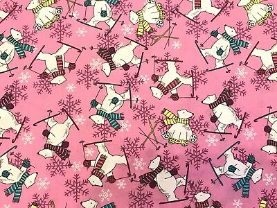 Christmas FQ Fat Quarter Fabric Pink Polar Bear Skiing Snow 100% Cotton Quilting