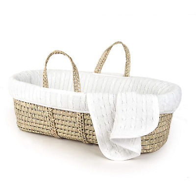 Tadpoles Cable Knit Moses Basket and Bedding Set, White