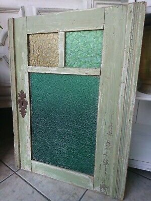 Antique Lattice Windows Nouveau Wooden with Colourful Glass Panes Shabby Chic