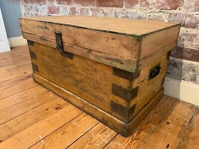 Vintage rustic antique old storage pine box trunk chest shabby chic coffee table