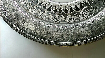 Antique Early Dutch Silvered Ornate Pierced Dish Plate Platter Tray G.S.Co.