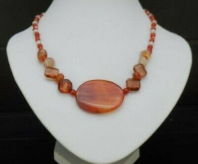 Striking Carnelian & Frosted Quartz fine jewellery necklace 19 inches