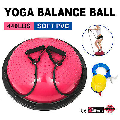 """23"""" Yoga Half Ball Balance Trainer Fitness Strength Exercise Gym w/Pump Red"""