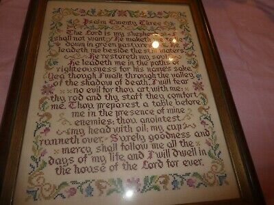 """Vtg Hand Embroidered & Cross stiched Picture 18"""" x 14"""" Twenty third Psalm framed"""