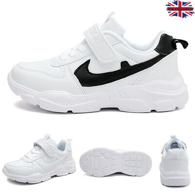 Kids Boy Girl Faux Leather Running Shoes Trainers Comfy Sneakers Solid Hook Loop