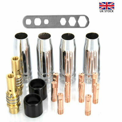 19PCS M6 Torch Welder Contact Tips Holder Gas Nozzle For Welding MIG/MAG MB-15AK