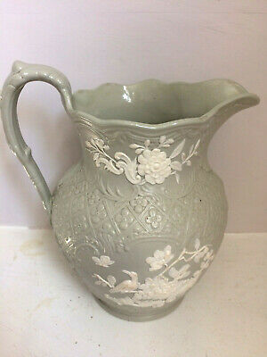 Antique Minton Relief Moulded Grey Stoneware Jug 'No 14' Scroll mark on Base