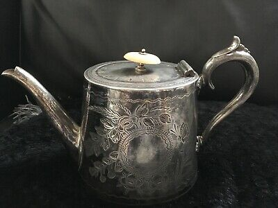 **Antique** Late Victorian *silver plated  EPBM teapot**