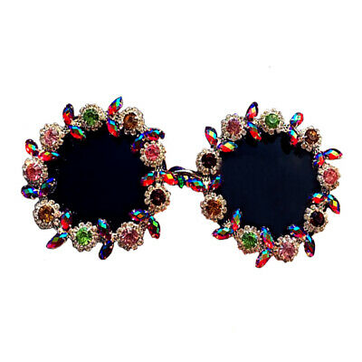 Vintage Style Colorful Floral Crystal High Fashion Beach Sunglasses Free Ship