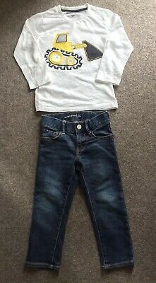 2-3years GAP Kids Jeans & White Next Digger Long Sleeved Tshirt CH17