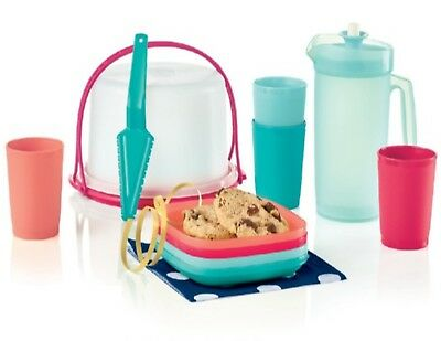 Tupperware 11 Pc Mini Kids Party Set Cake Taker Plates Pitcher Cups Pie Server