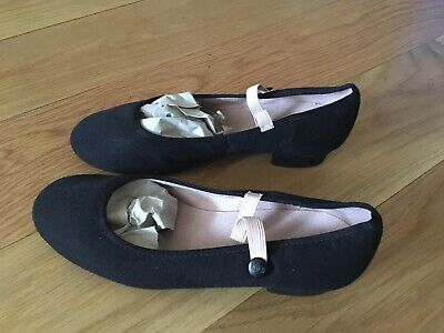 Bloch Character Shoes Size 4 with Low Cuban Heel Black - Excellent Condition