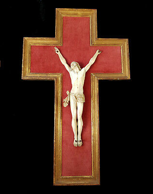 Large 18th Century French Antique Dieppe Carved Crucifix Christ Giltwood Cross