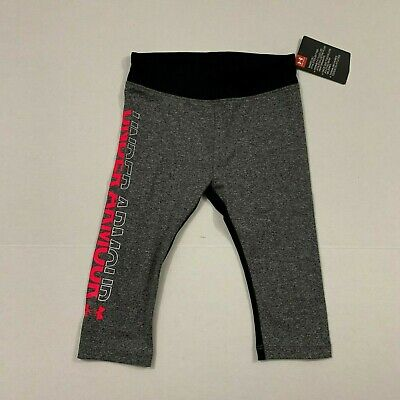 Under Armour NWT Toddler Girls Cropped Capri Leggings 3T Carbon Heather Black