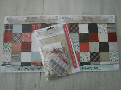 Tim Holtz Idea-Ology 8X8 Christmas Paper Pads Lot Of 2 + 1 Ephemera Pack