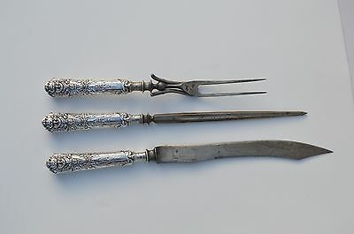 Antique Victorian Reed & Barton Devil's Face 3 Piece Carving Set Silver Plated