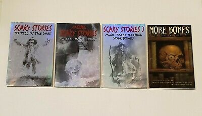 Lot Set 4 SCARY STORIES TO TELL IN THE DARK Series Books Schwartz Gammell LARGER
