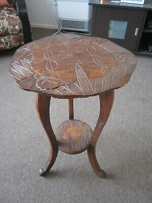 Lovely Vintage Retro Asian Carved 2 Tier Occasional Side Wine Table or Pedestal