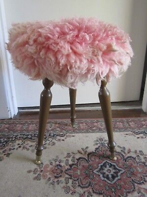 Lovely Vintage Very Retro Shabby Chic Bedroom Vanity Stool with Pink Fluffy Seat