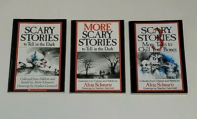 Lot Set of 3 SCARY STORIES TO TELL IN THE DARK Alvin Schwartz Gammell SCHOLASTIC