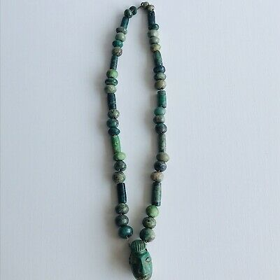 """Antique Central American Mayan Turquoise stone Necklaces. Total Length 20""""(51cm)"""