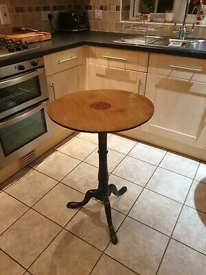 Antique Victorian Country House Inlaid Mahogany Circular Wine Table  Stunning