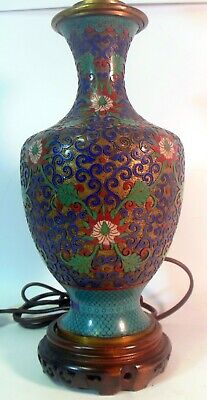 Antique QING  CHINESE Champleve Cloisonne Enamel VASE LAMP Lotus Blossoms