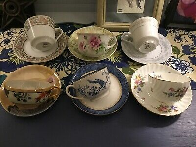 Vintage Mixed Lot 6 Teacups 6 Saucers Showers/Tea Party Beautiful Floral Mix