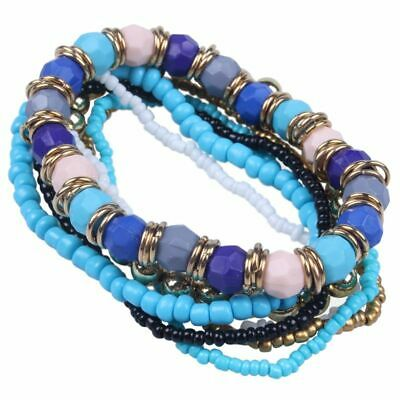 Fashion Womens Bohemian mash up Multilayer Beaded Bracelet Blue B8G3