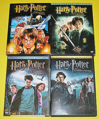 Kid DVD Lot - Harry Potter Years 1- 4 (3 Used, 1 New) Full Screen Versions