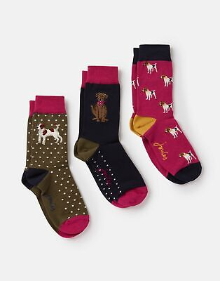 Joules  208245 Bamboo Socks 3 Pk in DOG Size Adult 4in8