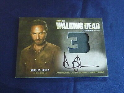 The WALKING DEAD Autograph Wardrobe AM9 Card 2014 RICK GRIMES Andrew LINCOLN