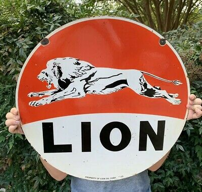 "Vintage Large 24"" Lion Porcelain Gas Station Sign Double Sided Dated 1933"