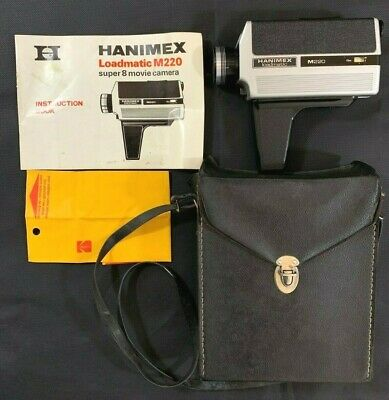 Hanimex Loadmatic M220 Super 8 Movie Camera with Carry Case & Instruction manual