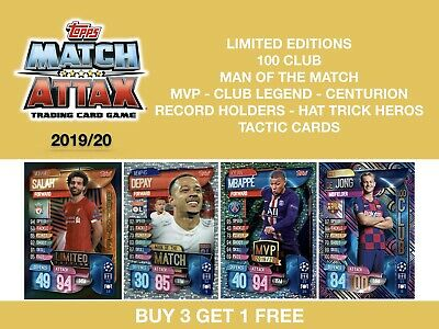 Match Attax 2019/20 19/20 LIMITED EDITIONS - 100 CLUB - MOTM - MVP - CLUB LEGEND