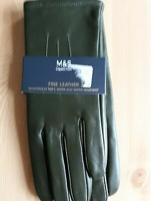 M&S Ladies Leather Gloves (Forest Green/Small)