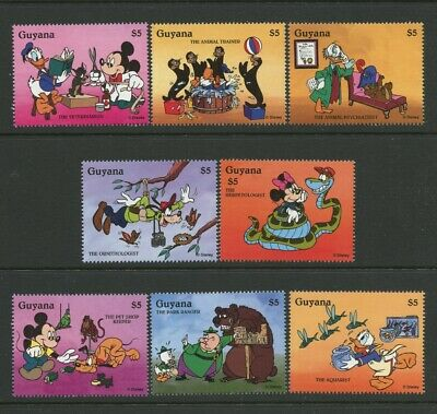 Disney Animal Workers 8 stamps mnh 1996 Guyana Mickey Mouse Donald Duck Goofy