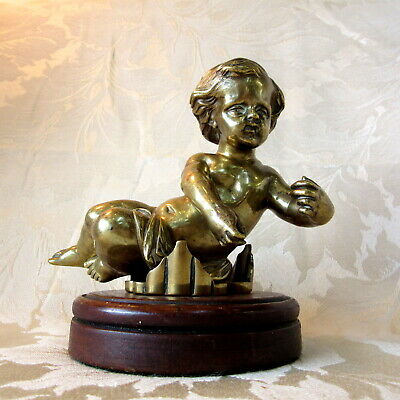"Gorgeous Gilded BRONZE Victorian CHERUB on Wooden Pedestal 6"" High / 1500g Heavy"
