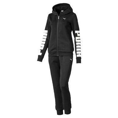 TUTA FULL ZIP CON PANTALONE DA DONNA PUMA REBEL SWEAT SUIT black con cappuccio