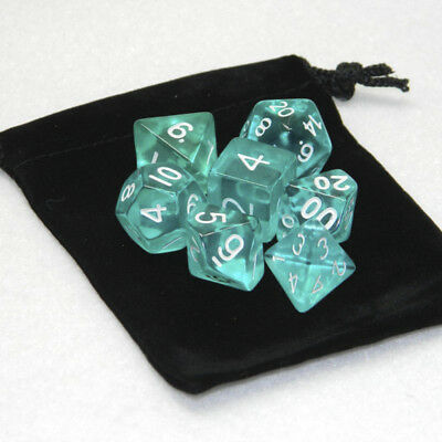 7 Piece Polyhedral Set Cloud Drop Translucent Teal RPG DnD With Dice Bag Gifts