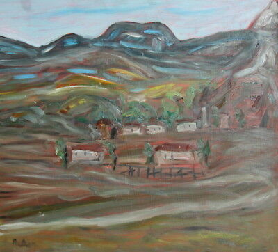 Vintage Oil Painting Village Landscape Mountain Signed
