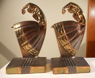 "Antique ""Tango Dancer"" Bookends Attributed to Dodge, c. 1935; Deco, Nouveau"