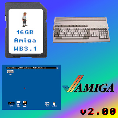 16GB SD Card for Amiga 1200 with ClassicWB3.1 & WHDLoad/Games/Demos/Music