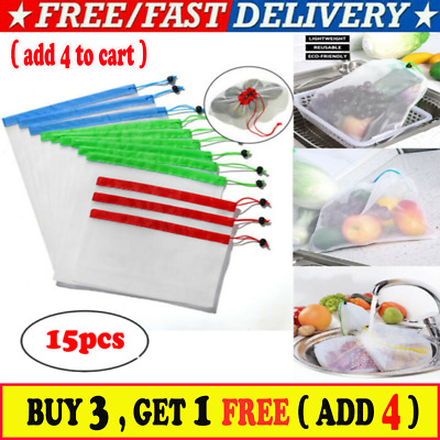 15x Eco Friendly Reusable Mesh Produce Bags Superior Double-Stitched Strength R