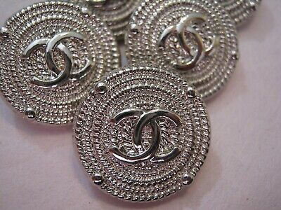 Chanel 5 cc buttons  silver metal 18mm lot of 5 good condition
