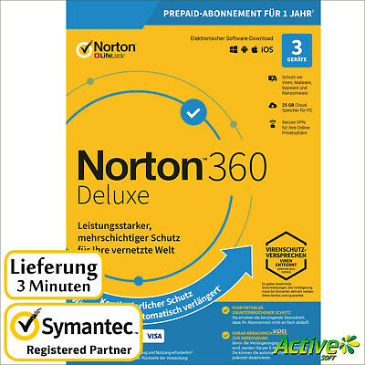 NORTON 360 Deluxe 2020 3 Geräte |PC,Mac,Android,iOS| Internet Security DE-Lizenz