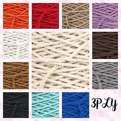 3PLY 4mm Twisted Pipping Cotton Cord String Macrame Craft DIY Home Crochet