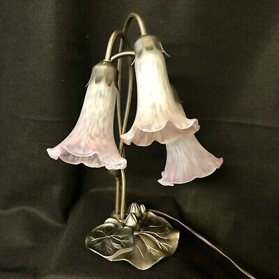 Vintage Tiffany Style Lily Pad 3-Tulip Light Pink Glass Trumpet Shade Table Lamp