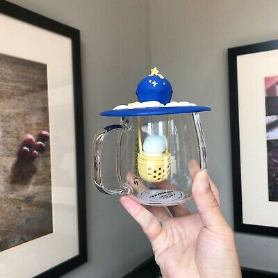 Starbucks Glass Cup 2019 China Mid Autumn Day 13oz Moonbuggy Hot Air Balloon
